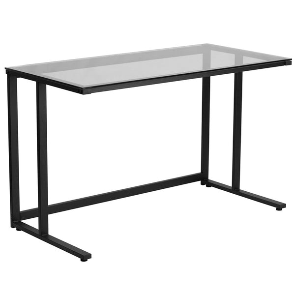 Clio Black Glass Top Office Desk - living-essentials