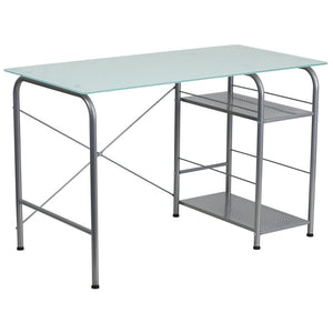 Molly Silver Glass Office Desk With Open Storage Desks Free Shipping