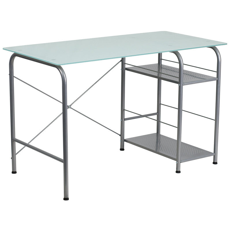 Molly Silver Glass Office Desk with Open Storage - living-essentials