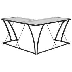 Aubrey Black Aluminum L-Shaped Office Desk - living-essentials