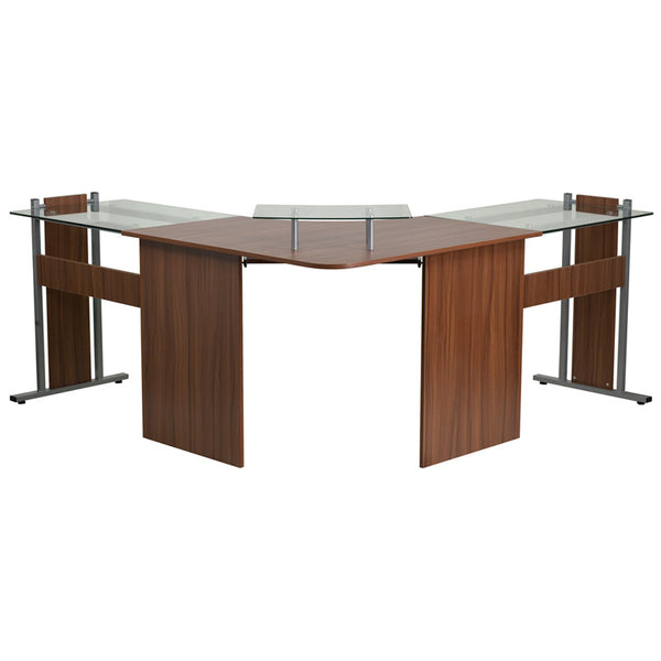 Audrey Teakwood Corner Office Desk - living-essentials