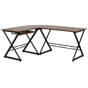 Audrey Teakwood L-Shaped Office Desk - living-essentials