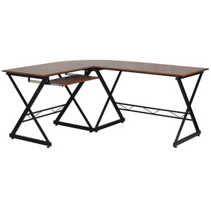 Audrey Teakwood L-Shaped Office Desk Desks Free Shipping