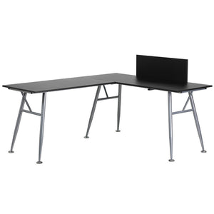 Julia Black L-Shaped Office Desk With Silver Frame Finish Desks Free Shipping