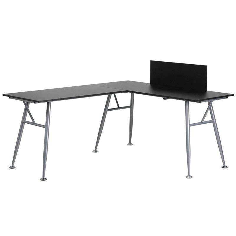 Julia Black L-Shaped Office Desk with Silver Frame Finish - living-essentials