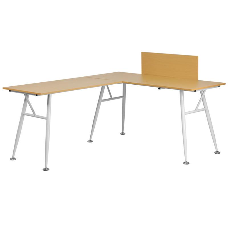 Julia Beech L Shaped Office Desk With White Frame Finish   EMFURN