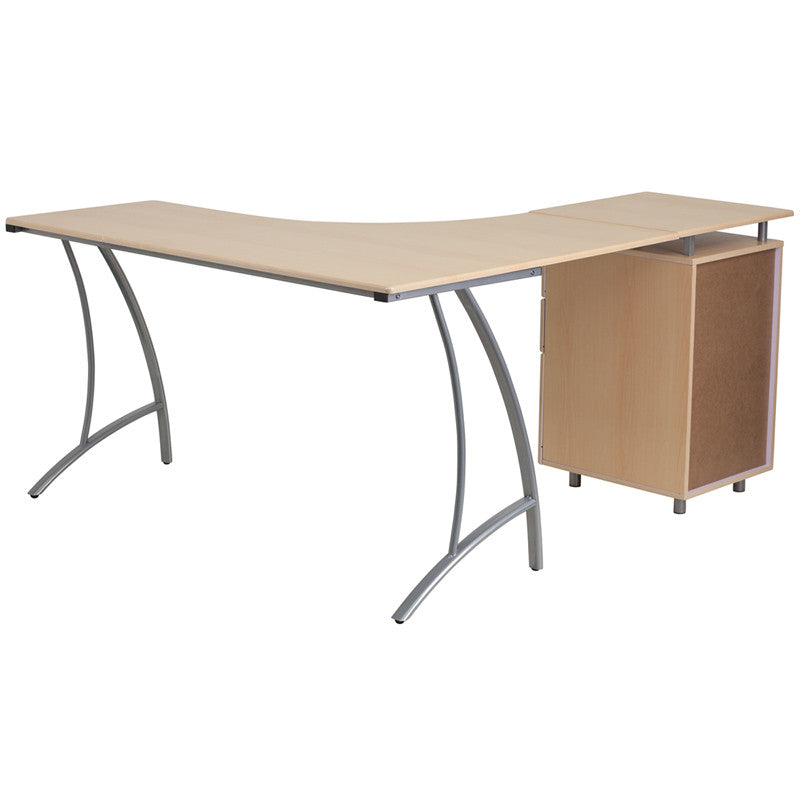 Ellie Walnut/Beech 3 Drawer L-Shaped Office Desk - living-essentials
