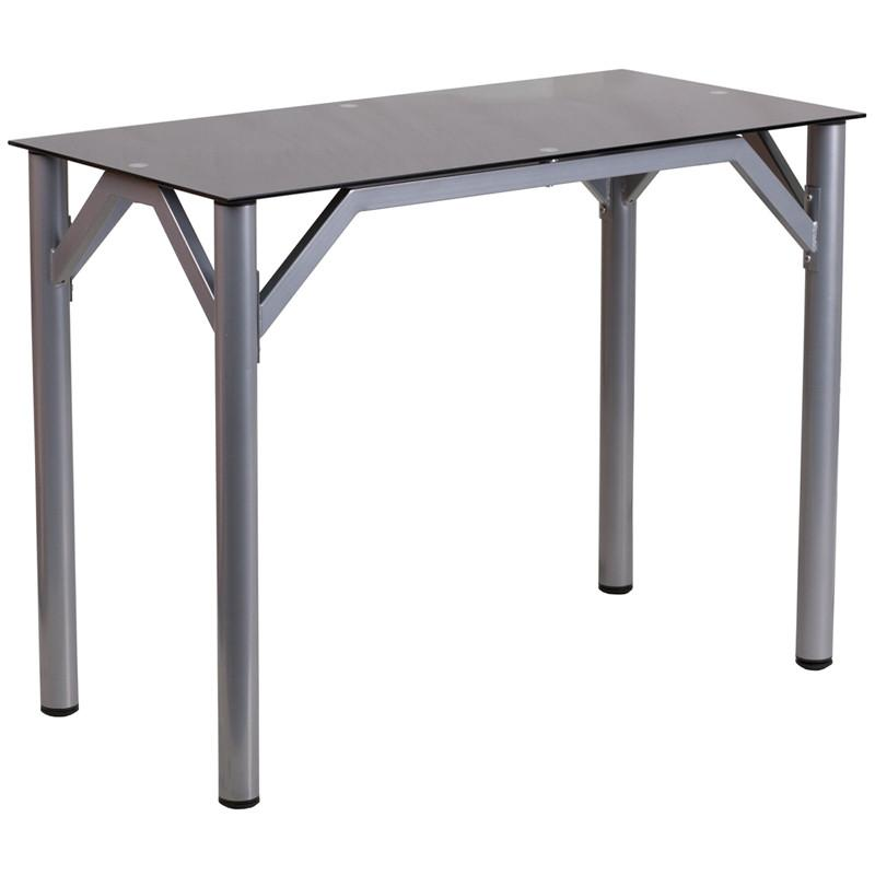 Lila Silver Aluminum Contemporary Office Desk - living-essentials