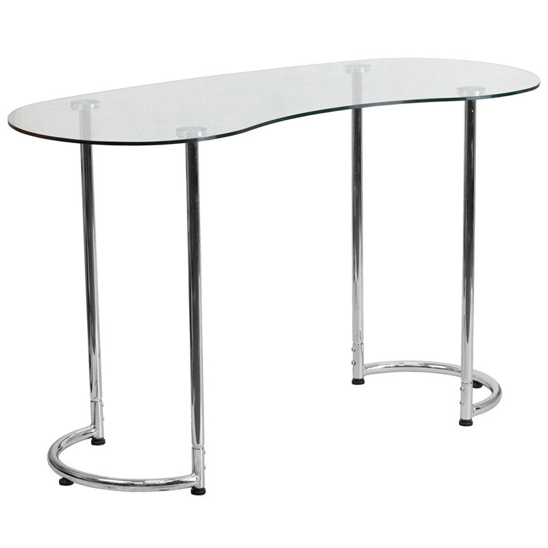 Lila Chrome Aluminum Open Contemporary Office Desk - living-essentials