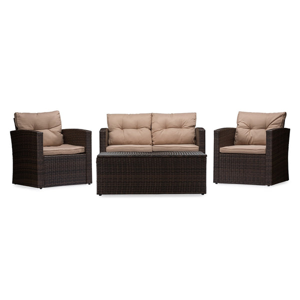 Indira 4-Piece PE Rattan Outdoor Loveseat Set - living-essentials