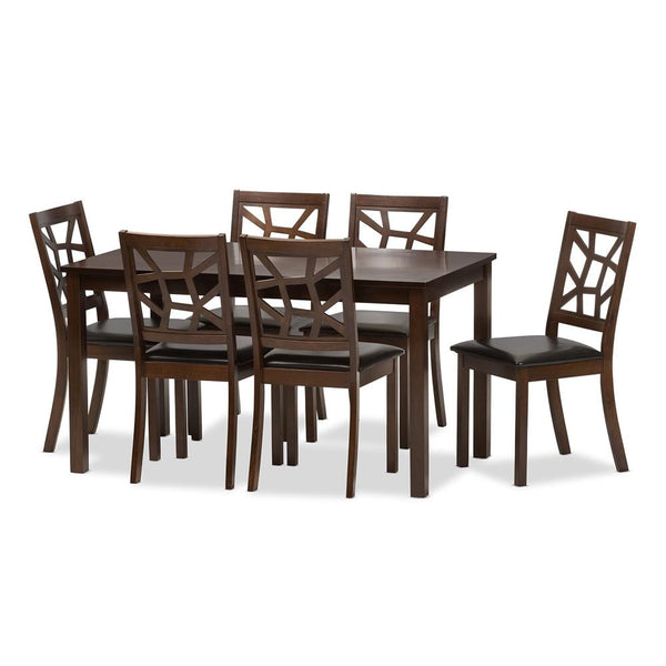 Oliwier Wood and Leather Contemporary 7-Piece Dining Table Set - living-essentials