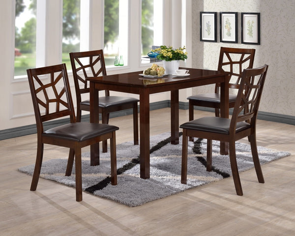 Oliwier Black Leather Contemporary 5-Piece Dining Table Set - living-essentials