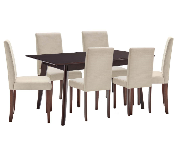 Cappuccino Beige 7 Piece Upholstered Dining Set