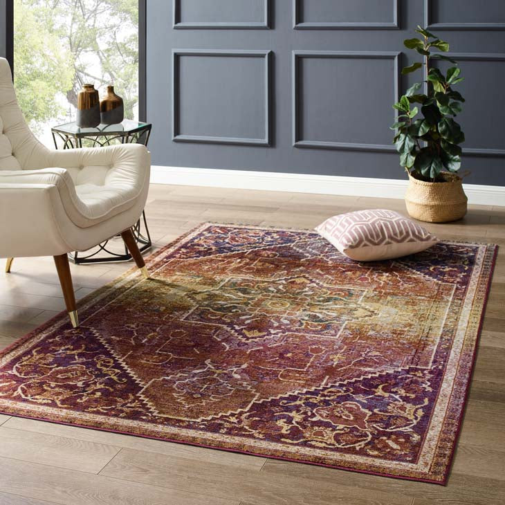 Victory Kaede Transitional Distressed Vintage Floral Persian Medallion 5x8 Area Rug - living-essentials