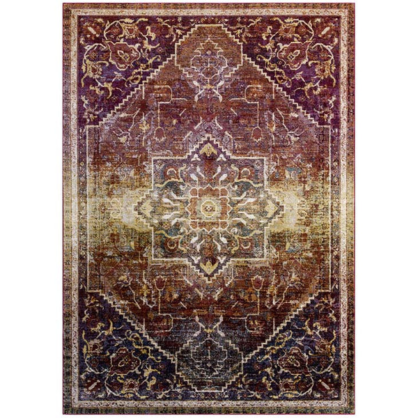 Victory Kaede Transitional Distressed Vintage Floral Persian Medallion 8x10 Area Rug - living-essentials
