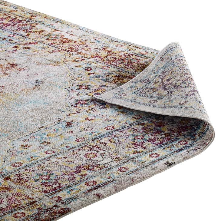 Victory Merritt Transitional Distressed Vintage Floral Persian Medallion 4x6 Area Rug - living-essentials
