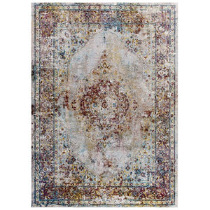 Victory Merritt Transitional Distressed Vintage Floral Persian Medallion 5x8 Area Rug - living-essentials