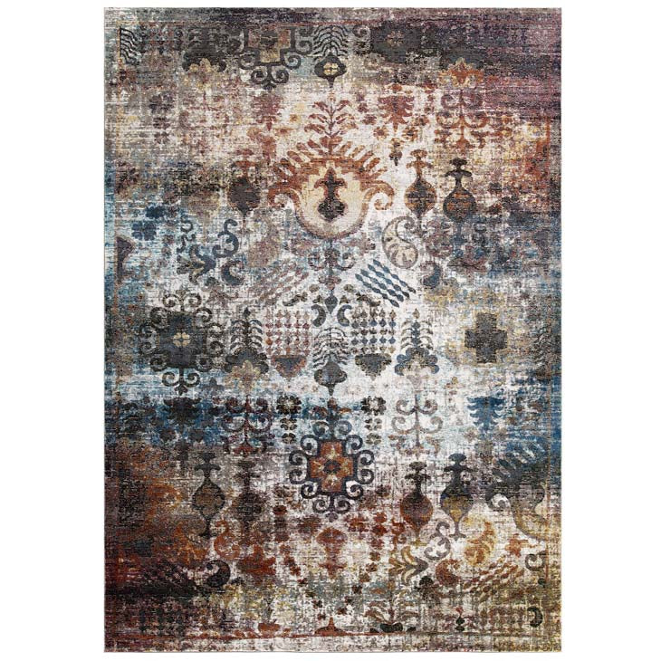 Victory Tahira Transitional Distressed Vintage Floral Moroccan Trellis 5x8 Area Rug - living-essentials