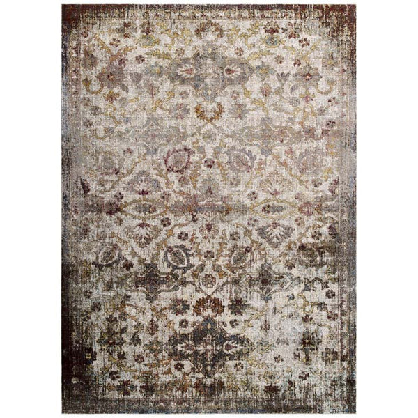 Victory Kaede Distressed Vintage Floral Moroccan Trellis 5x8 Area Rug - living-essentials