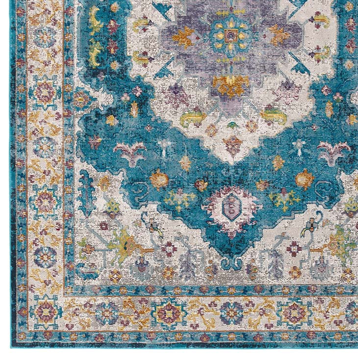 Victory Anisah Distressed Vintage Floral Persian Medallion 5x8 Area Rug - living-essentials
