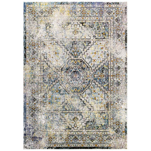 Victory Jacinda Distressed Vintage Floral Persian Medallion 4x6 Area Rug - living-essentials