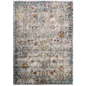 Victory Manuka Distressed Vintage Floral Lattice 5x8 Area Rug - living-essentials