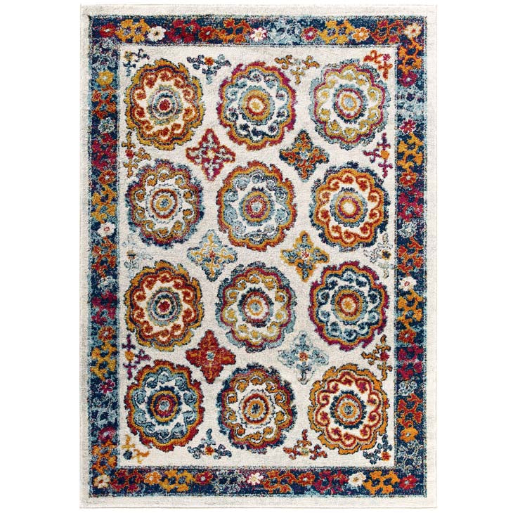 Escort Odile Transitional Distressed Vintage Floral Moroccan Trellis 5x8 Area Rug - living-essentials