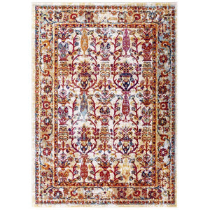 Entourage Jessa Distressed Vintage Floral Lattice 5x8 Area Rug - living-essentials