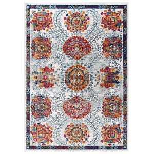 Entourage Kensie Distressed Vintage Floral Moroccan Trellis 5x8 Area Rug - living-essentials