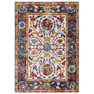 Escort Samira Distressed Vintage Floral Persian Medallion 5x8 Area Rug - living-essentials