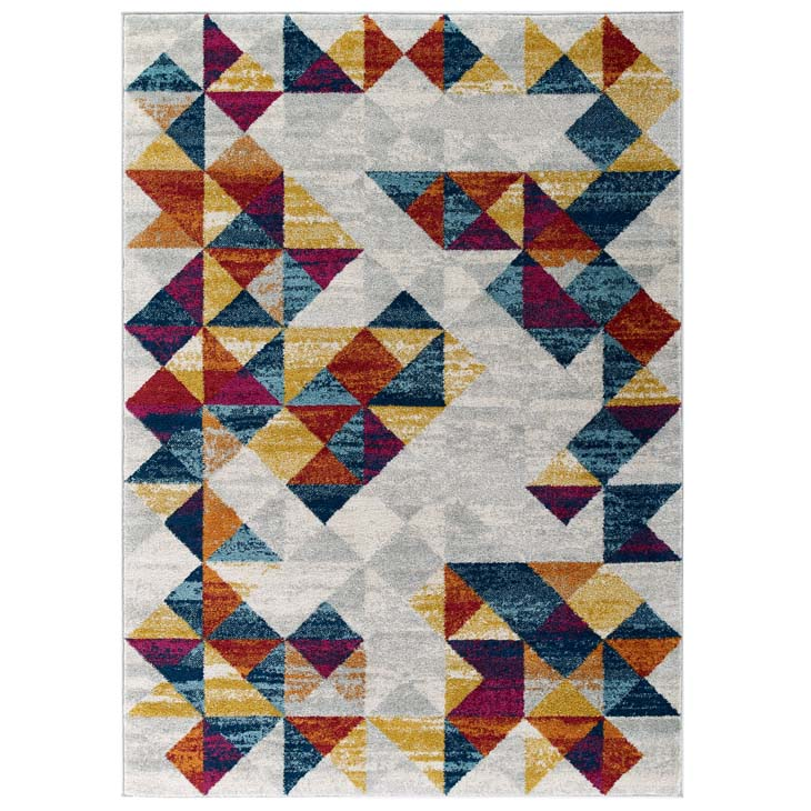Entourage Elettra Distressed Geometric Triangle Mosaic 5x8 Area Rug - living-essentials
