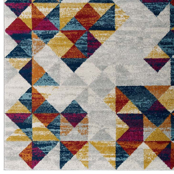 Entourage Elettra Distressed Geometric Triangle Mosaic 8x10 Area Rug - living-essentials
