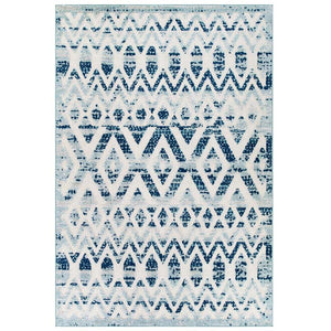 Reveal Tamako Distressed Vintage Diamond and Chevron Moroccan Trellis 8x10 Indoor and Outdoor Area Rug