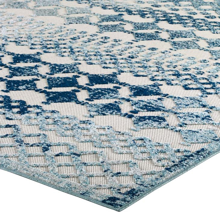 Reveal Giada Distressed Vintage Abstract Diamond Moroccan Trellis 5x8 Indoor and Outdoor Area Rug - living-essentials