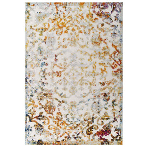 Reveal Primrose Distressed Vintage Ornate Floral Lattice 5x8 Indoor and Outdoor Area Rug