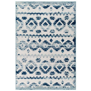 Reveal Takara Distressed Contemporary Abstract Diamond Moroccan Trellis 5x8 Indoor and Outdoor Area Rug