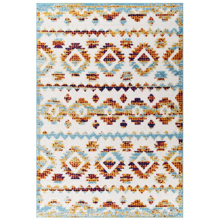 Reveal Takara Distressed Contemporary Abstract Diamond Moroccan Trellis 5x8 Indoor and Outdoor Area Rug - living-essentials
