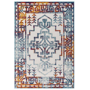 Reveal Nyssa Distressed Geometric Southwestern Aztec 5x8 Indoor and Outdoor Area Rug