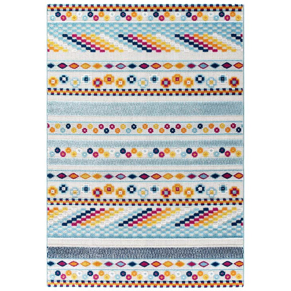 Reveal Cadhla Vintage Abstract Geometric Lattice 5x8 Indoor and Outdoor Area Rug - living-essentials