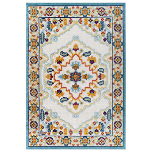 Reveal Ansel Distressed Vintage Floral Persian Medallion 8x10 Indoor and Outdoor Area Rug
