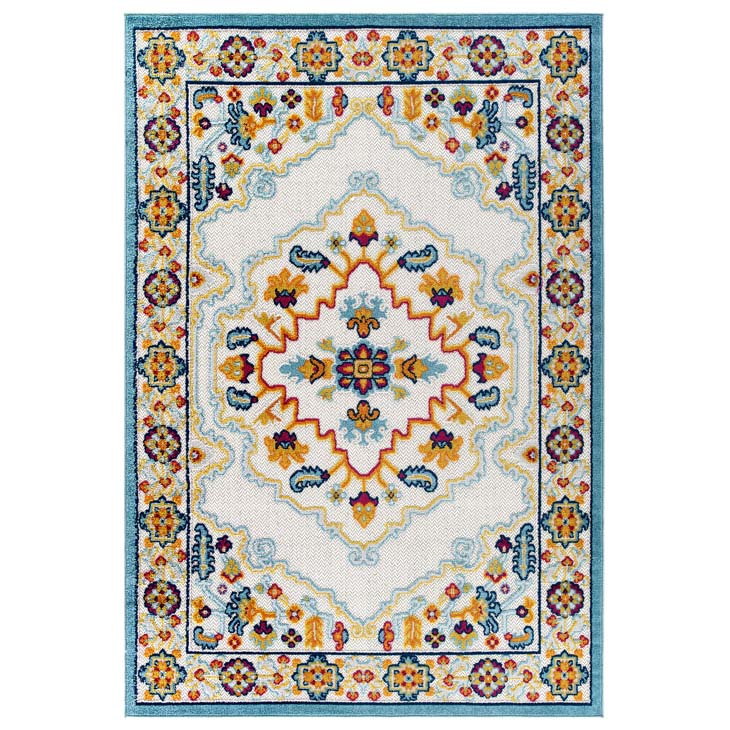 Reveal Ansel Distressed Vintage Floral Persian Medallion 8x10 Indoor and Outdoor Area Rug - living-essentials