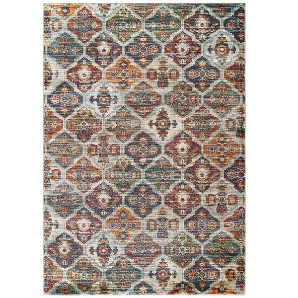 Testimonial Azalea Distressed Vintage Floral Lattice 5x8 Area Rug - living-essentials