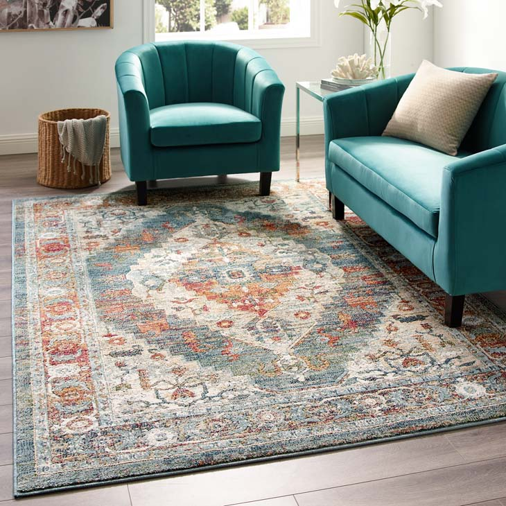 Testimonial Camellia Distressed Vintage Floral Persian Medallion 5x8 Area Rug - living-essentials