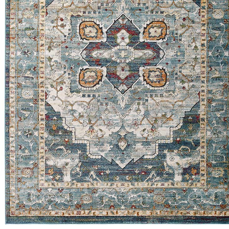Testimonial Diantha Distressed Vintage Floral Persian Medallion 8x10 Area Rug - living-essentials