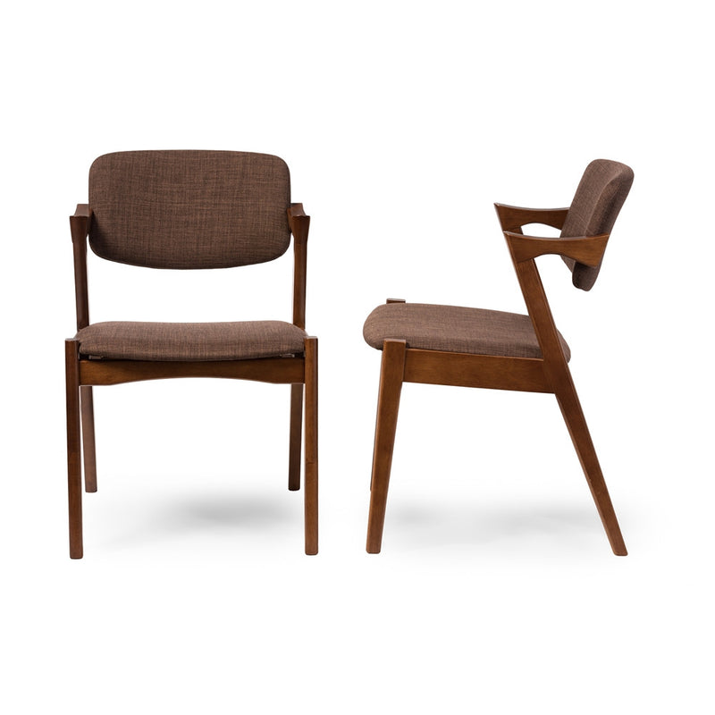 Eliza Mid-Century Dark Walnut Brown Fabric Dining Chair - living-essentials
