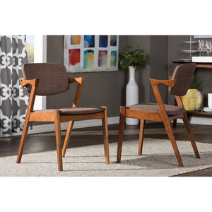 Eliza Mid-Century Dark Walnut Brown Fabric Dining Chair Chairs Free Shipping