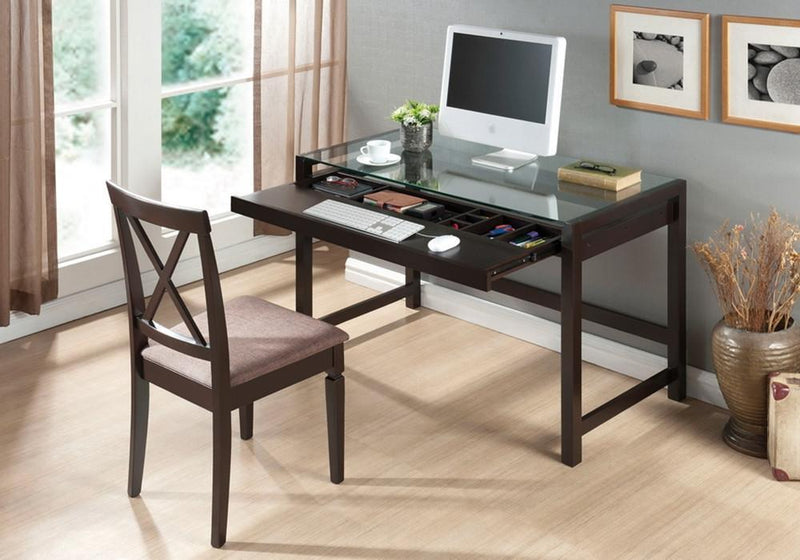Zak Dark Brown Wood Modern Desk with Glass Top - living-essentials