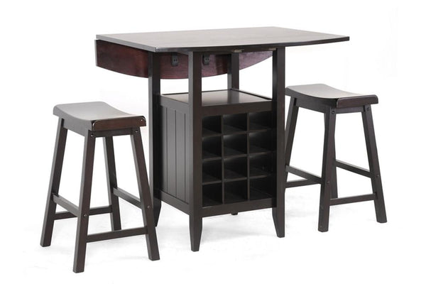 Kayleb 3-Piece Modern Black Wood Drop-Leaf Pub Set With Wine Rack - living-essentials