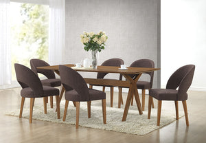 George Mid-Century Style Walnut Brown 7-Piece Dining Set - living-essentials