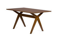 George Mid-Century Walnut Brown Dining Table - living-essentials